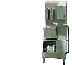 Hygieneschleuse mit Sohlenputzmaschine incl. allen Spendern und Warmwasser-Durchlauferhitzer
